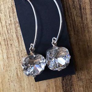 Swarovski 12mm cushion clear crystal earrings